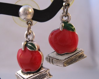 School Teacher Red Apple & Book Enamel Pierced Earrings Vintage Costume Jewelry Jewellery FREE SHIPPING