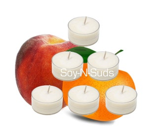 PEACHY TANGERINE Soy Tea Light Candles