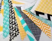Bunting, Banner, Photography Prop, Fabric Flags, Nursery Decor, Birthday Decoration - Yellow, Teal, Black, Turquoise, Chevron, Geometric