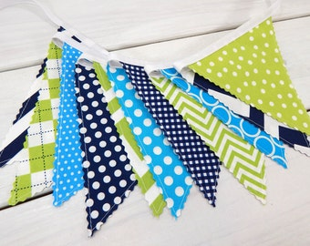 Bunting Banner, Photography Prop, Nursery Decor, Birthday Decoration - Nautical, Lime Green, Turquoise, Navy Blue, Chevron, Dots, Stripe