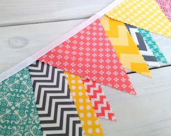 Bunting Fabric Banner, Fabric Flags, Nursery Decor, Garland, Pennant - Teal Blue, Grey, Yellow, Gray, Coral, Chevron, Flowers