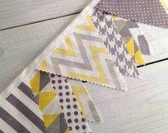 Bunting Fabric Banner, Fabric Flags, Nursery Decor, Birthday Decoration, Baby Shower - Yellow, Grey, Gray, Chevron, Gingham
