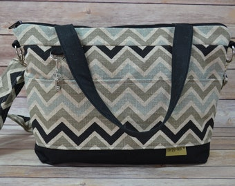 Camera bags Made in the USA by Darby Mack - Tote bag / Waterproof Canvas / Black, Khaki, Aqua Chevron , Washable!