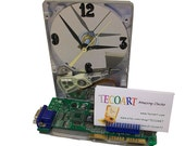 FREE SHIPPING! Unique Business Card Holder Hard Drive Clock from Recycled Hard Drive and Video Circuit Board.