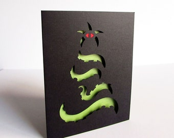 Cthulhu Christmas Tree Holiday Greeting Card - Silhouette Green and Black