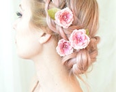 Rose hair pins, pink flower clips, whimsical floral clip, wedding hair piece, bridal hair accessories - Tea roses