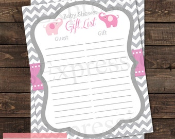 Pink and Gray Elephant Baby Shower Gift List