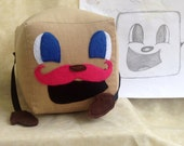 """Tiny Box Tim Plushie! Corduroy Plush Toy. 5.5"""" cube, Pillow. With Pink Warfstache/Mustache Markiplier Youtuber."""