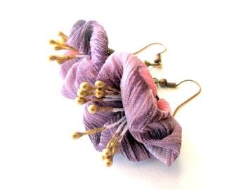 Lavender flower fabric earrings, lavender flower fiber earrings, lavender flower textile dangles