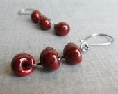 Dark Red Dangle Earrings, Blood Red Earrings, Beaded Earrings, Red Lampwork Earrings, Beaded Dangles Red, Oxidized Sterling Silver Earrings