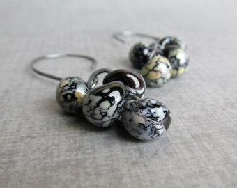 Mottled Black Cluster Dangles, Black Earrings, Lampwork Earrings Black, Black Glass Drop Dangle Earrings, Oxidized Sterling Silver Earrings