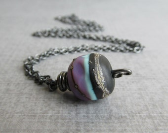 Lampwork Necklace, Purple Necklace, Black Necklace, Multicolor Pendant Necklace, Artisan Lampwork Pendant, Oxidized Sterling Silver Necklace