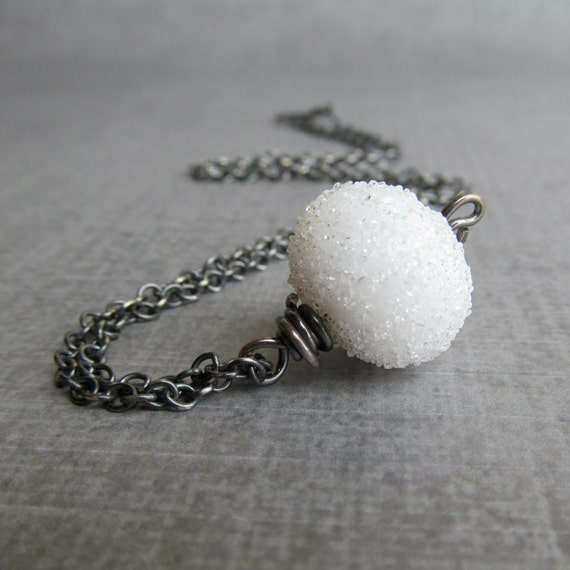 White Snow Necklace, Lampwork Necklace White, White Sugar Necklace, White Necklace, Oxidized Necklace Sterling Silver, Artisan Necklace