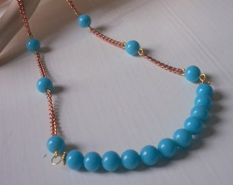 Beautiful Vintage Aqua Glass Bib Necklace Beaded Chain Upcycled Recycled