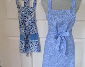 Mom and Me Apron Set - Blue Swirls With Rick Rack Pockets