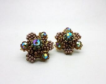Vintage Vendome Beaded Aurora Borealis Crystal Clip Earrings