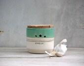 garlic jar cork lid  kitchen garlic canister handmade ceramic