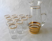 Vintage  Hollywood Regency Gold Rimmed Cocktail Glass  Set  Including a Pitcher with 10 Glasses