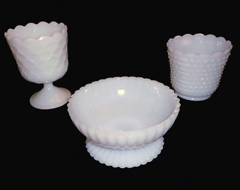 3  VINTAGE WHITE  Milk  Glass Planters Rustic Wedding