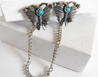 Vintage 1950s Sweater Guard Butterfly Clips