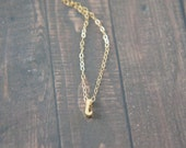 """Cursive Gold Letter, Alphabet, Initial  """"i"""" necklace, birthday gift, lucky charm, layered necklace, trendy"""