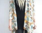 Kimono cardigan -oversize chiffon kimono summer collection- pastel color floral-cream Aqua taupe-Gift idea-Layering piece-Many colors