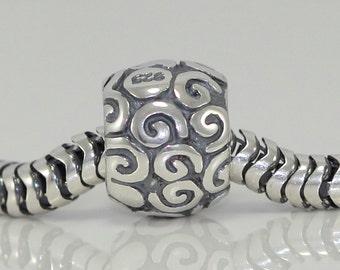 1 Authentic Unique Sterling Silver Charm Artistic bead For European charm bracelet #EC128