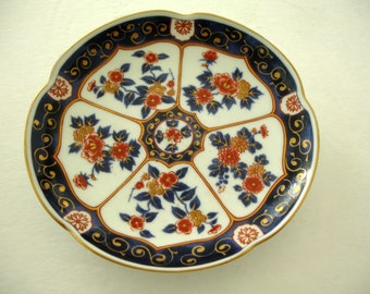 Shabby Cottage Decorative Plate  OMC Japan Small Blues Gold Red Asian Design