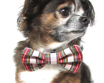Pet Dog Bowtie-Plaid Red,White, and Green Plaid Clip on