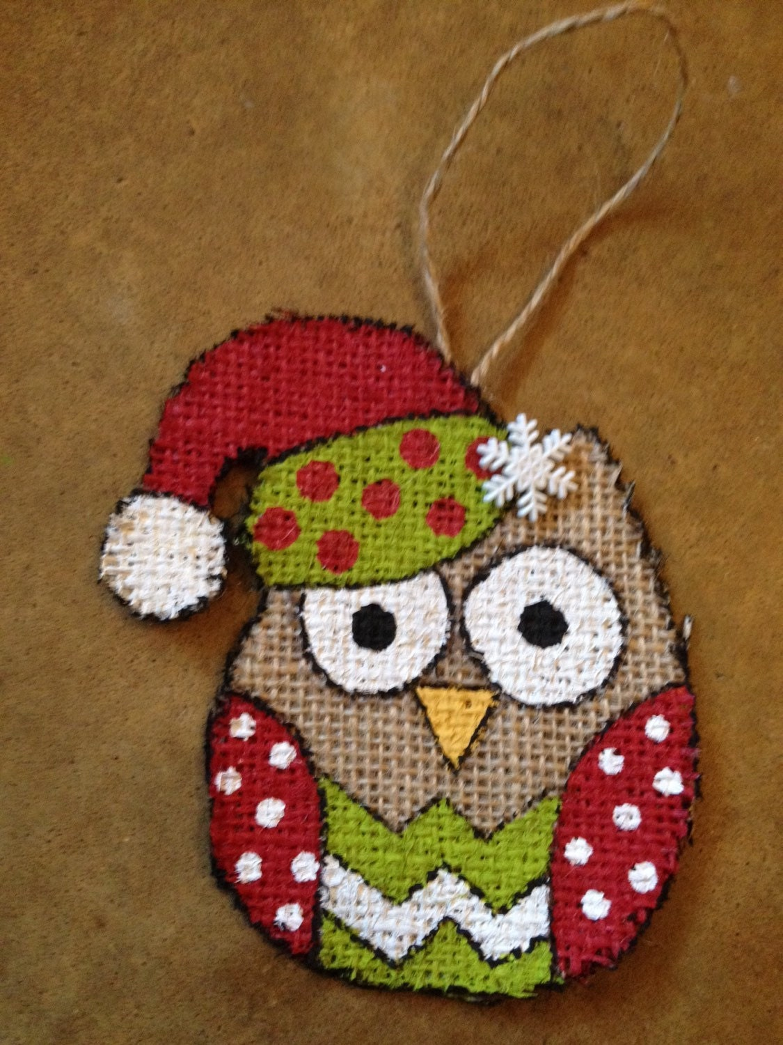 Burlap owl christmas handmade ornament by whimsysomethings