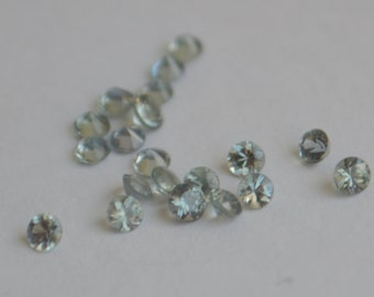 Green Sapphire, Green Sapphire Round, Sapphire Melee, 2mm Round Sapphire, Grey Green Sapphire