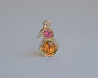 Mandarin Garnet and Burmese Spinel Hexagon Pendant in 14 K Yellow Gold