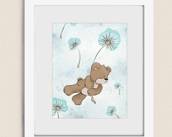 Aqua Girls Wall Art, 11 x 14 Nursery Art for Girls Room, Blowing Dandelion Childrens Print for Girls Nursery Artwork (241)