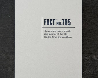 terms and conditions. letterpress card. #337