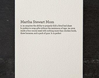 martha stewart mom. letterpress card. #180
