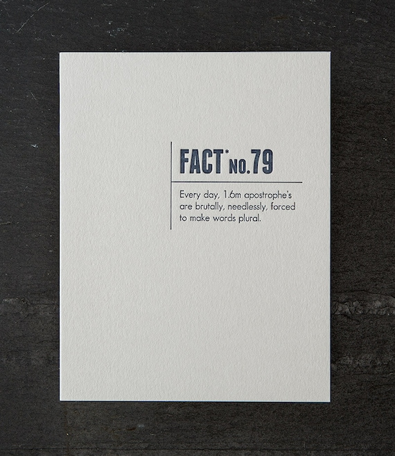 apostrophe. made up stats. letterpress card. #328