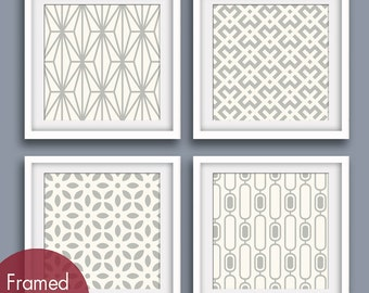 Mod Scandinavian Prints Collection (Series C) Set of 4 - Square Art Poster Prints (Featured in Silver Cloud on Soft Cream)