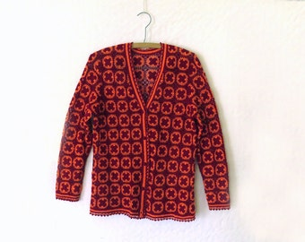 Vintage Crochet Lace Cardigan Sweater / Cotton lace detailed / Granny squares and trim / 1970s / Dark red and orange size Medium