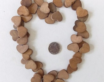 50 - 7/8 W x 3/4 H - Stained Wood Hearts, Craft Supplies, Weddings, Wood Projects, Country Pendant, Cut Out Shape, Heart Blanks