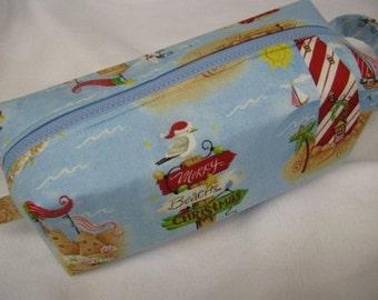 Warm Wishes Tropical Beach Christmas Holiday Cosmetic Bag Makeup Bag LARGE
