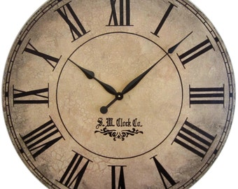24 inch Large Wall Clock Grand Gallery Antique Style tuscan crackle rustic distressed personalized