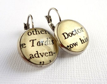 Dr Who Earrings,  Geek Girl Gift Idea, Book Jewellery, Book Earrings, Sci Fi Jewellery, Under 25, Fandom Gift Idea,  Dr Who Fan Gift Idea