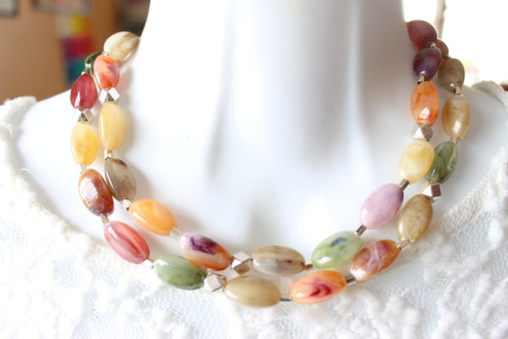 Colorful Necklace, long bead necklace, long colorful necklace, long boho necklace, vintage necklace, upcycled necklace, layering necklace
