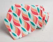 men's coral/mint/peach multi necktie