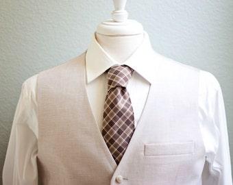 Necktie, Neckties, Mens Necktie, Mens Neckties, Wedding Ties, Groomsmen Gift, Groomsmen Ties, Ties, Neck Tie - Brown Chambray Plaid