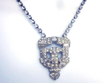 Vintage Rhinestone Necklace Bridal Jewelry Paste Rhinestone