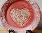 Wedding Gift, Large, Tray, Ceramic, Pink, Heart, Love, Round, Gift for the Couple, Couples Gift, READY TO SHIP, Unique, Colorful, Bigdogpots