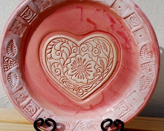 Wedding. Gift. Wedding Gift. Couples. Anniversary. Heart. Love. Pink. Unique. Bowl. Serving. Kitchen. Home Decor. Handmade. Ceramic. Hearts