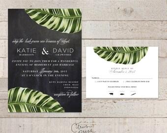 Botanical Palm Leaf Wedding Invitation, Tropical Palm, Banana Leaf with chalkboard background, Shabby Chic, desintation  invite