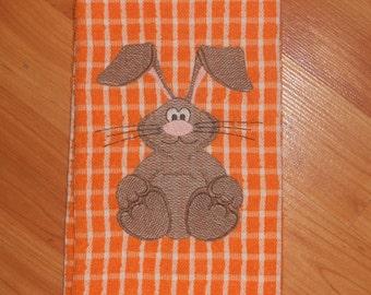 Rabbit Orange Kitchen Towel